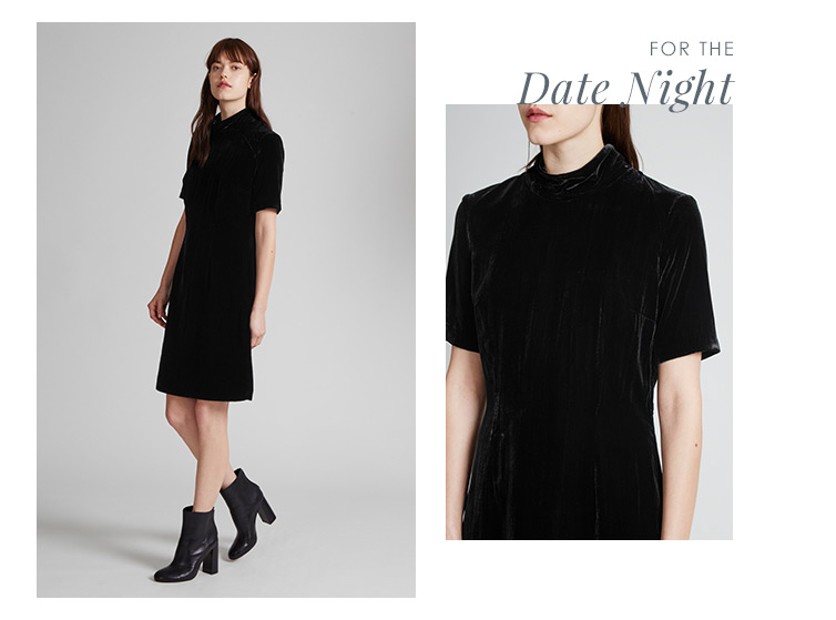Velvet Moon High Neck Collar Dress