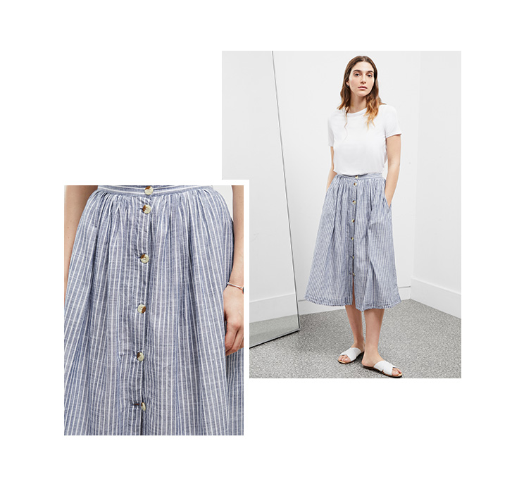 Soft Stripe Midi Skirt