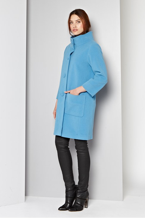 Manor Wool Funnel Neck Coat