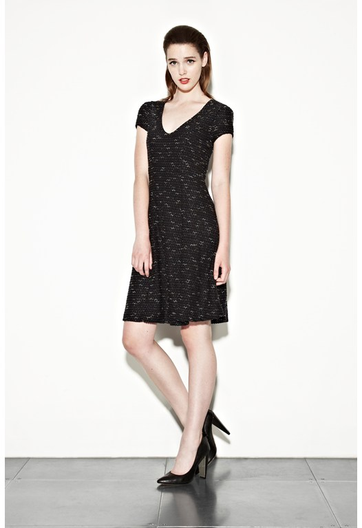 Snow Birds Panelled V Dress