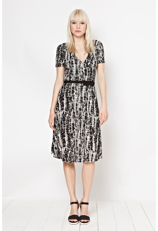 Spindle Print Jersey Dress