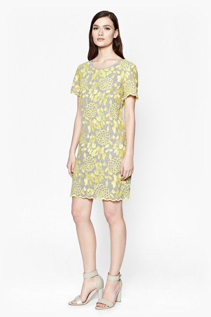 Chrysanthemum Embroidered Shift Dress