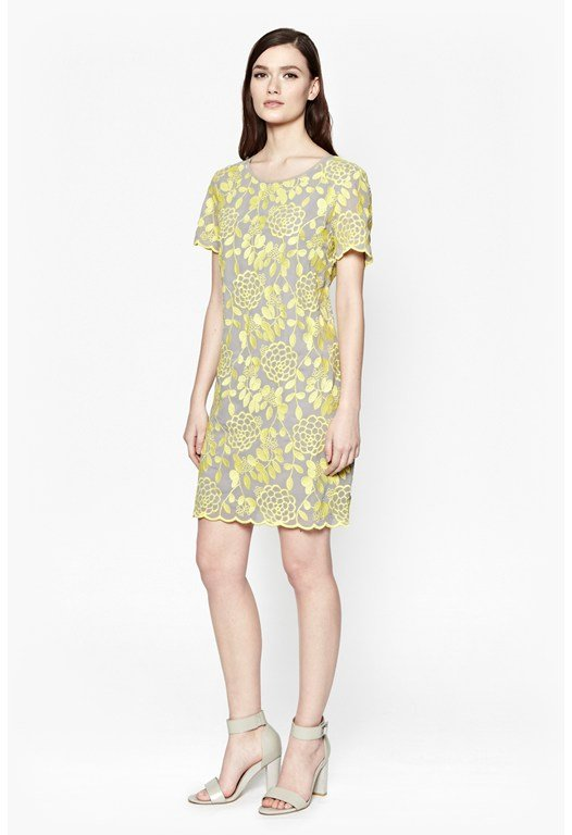 Crysanthemum Embroidered Shift Dress