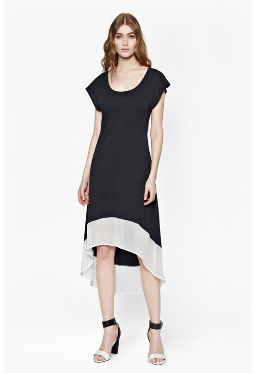 Contrast Hem Floaty Dress