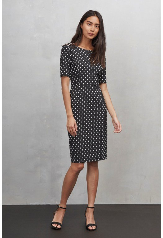 Ikat Spot Stretch Pencil Dress