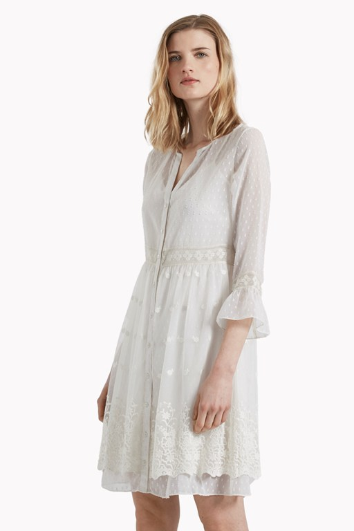 Dobby Spot Embroidered Dress