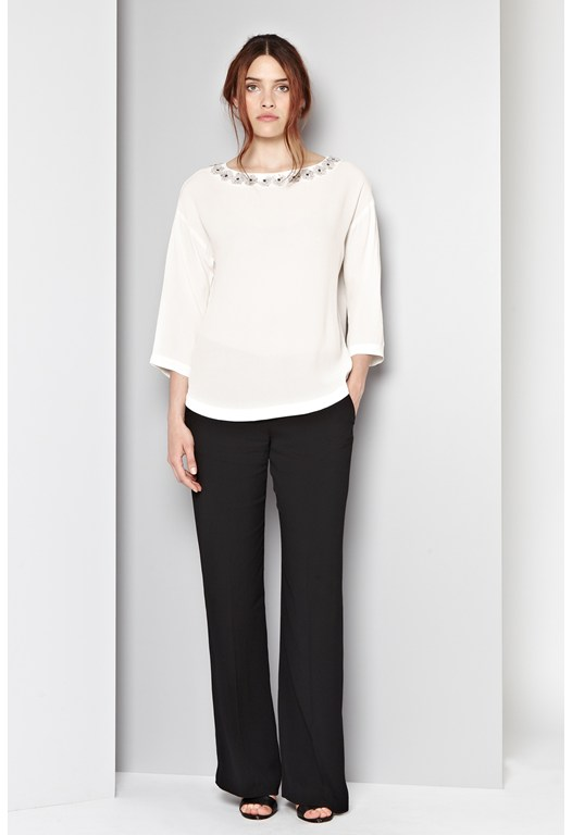 Chloe Flower Embellished Tunic Top