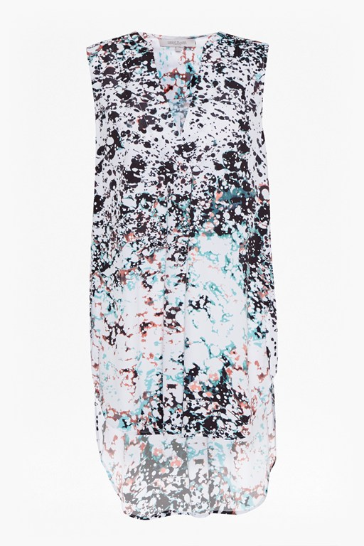Complete the Look Miquita Marble Printed Sleeveless Tunic