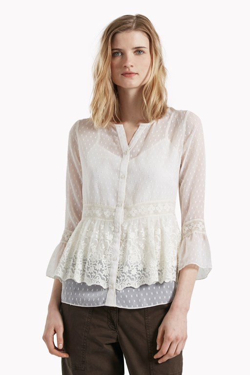 Dobby Spot Embroidered Blouse