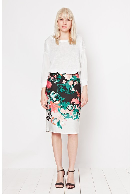Waterfall Garden Print Skirt