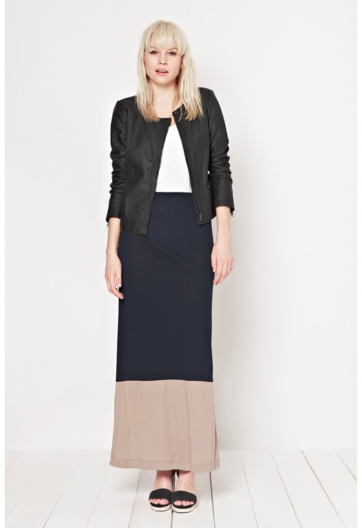 Colour Block Jersey Maxi Skirt