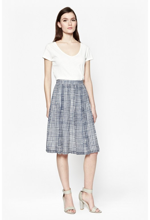 Yoyo Check Pleated Skirt