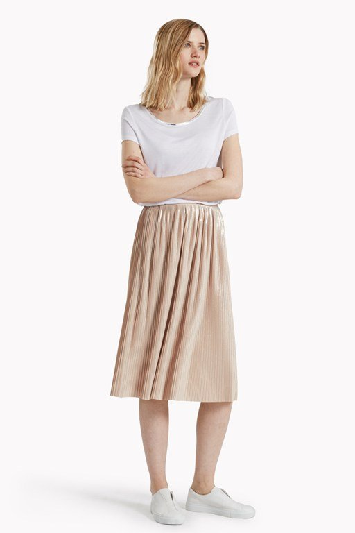 Silver Plisse Pleated Skirt