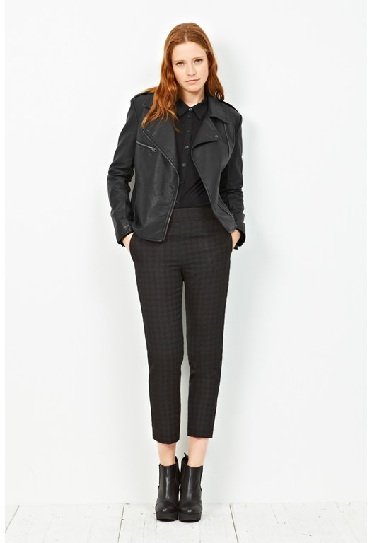Jacquard Dogtooth Cropped Trousers