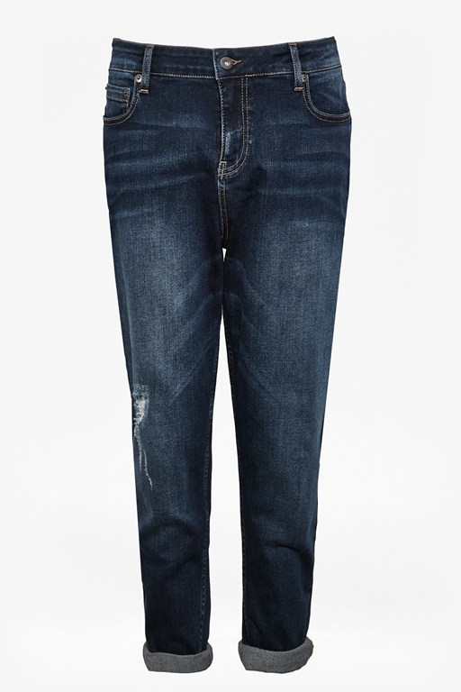 Complete the Look Old Blue Distressed Boyfriend Jeans