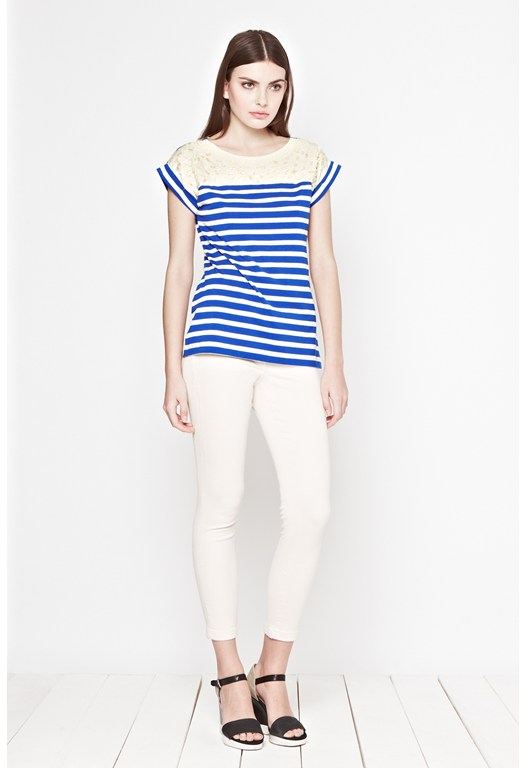 Lucy Stripe Embellished T-Shirt
