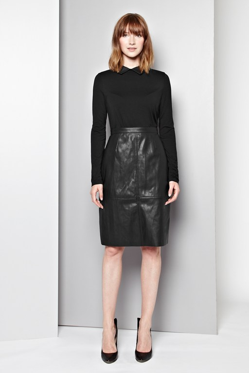 Leonie Faux Leather Collar Top
