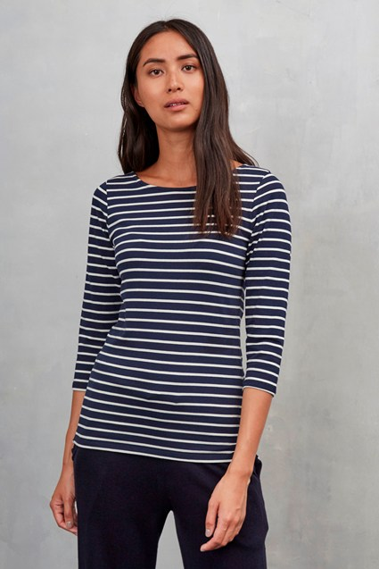 Weekend Stripe 3/4 Sleeve Top