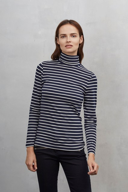 Weekend Stripe Polo Neck Top