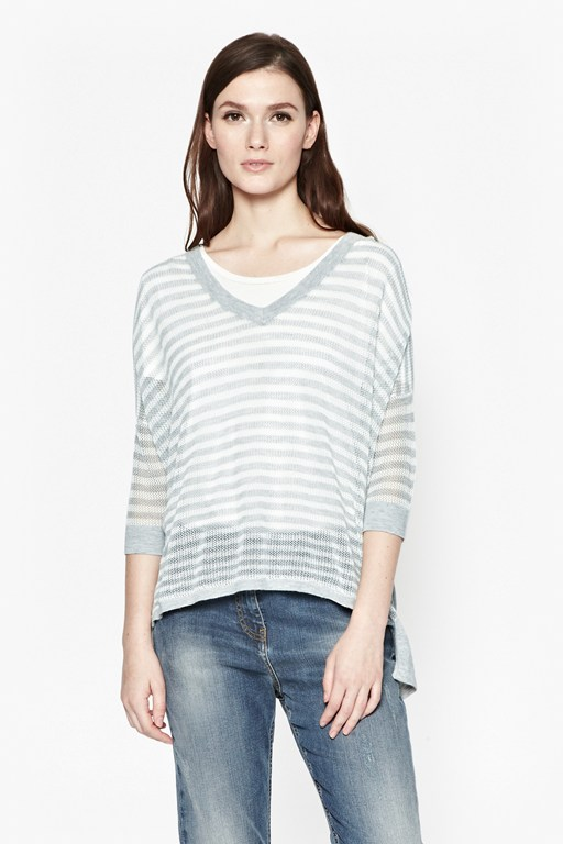 Complete the Look Summer Stripes V-Neck Jumper