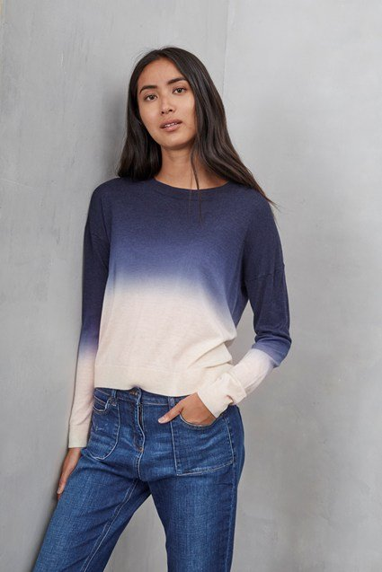 Dip Dye Dora Pointelle Neck Jumper