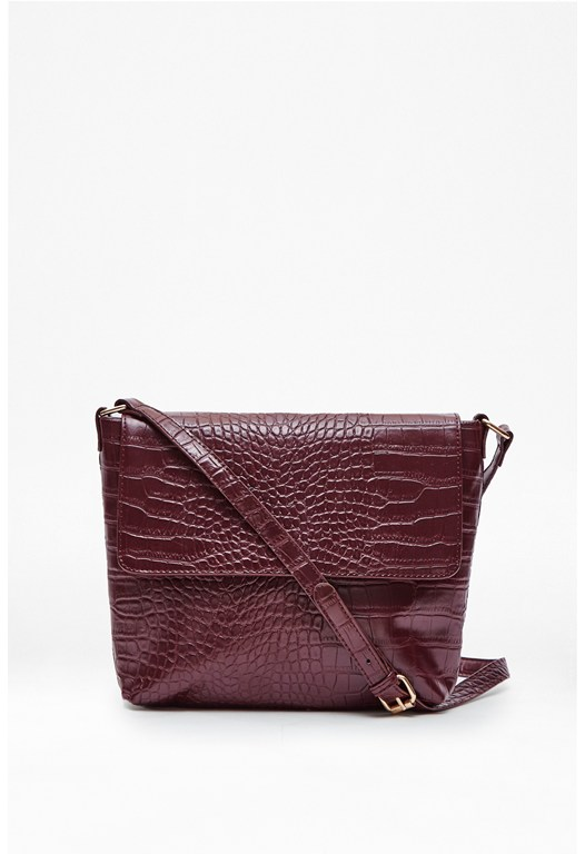 Callie Croc Shoulder Bag