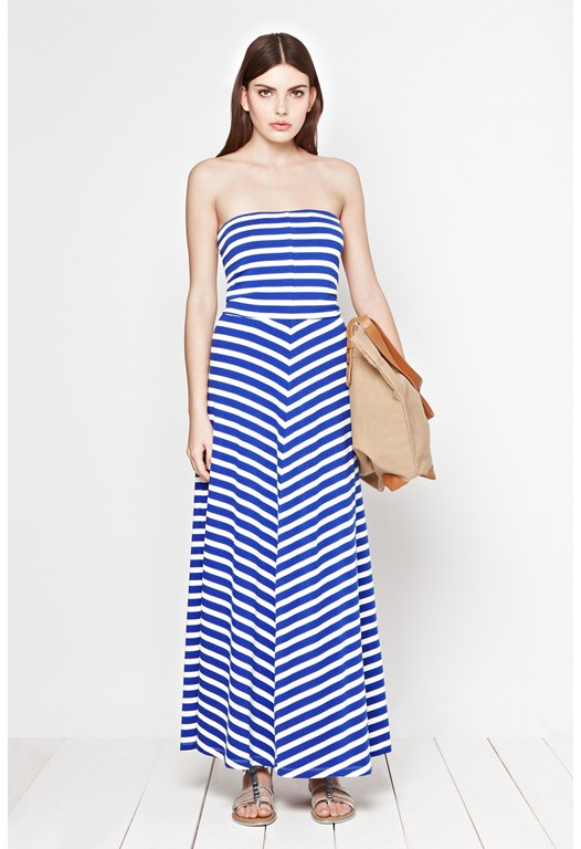 Stripe Bandeau Maxi Dress