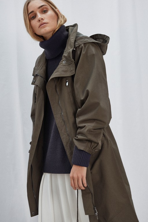 high neck parka coat