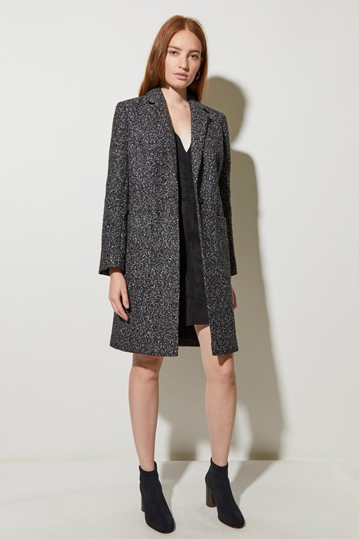 flecked melton pocket coat