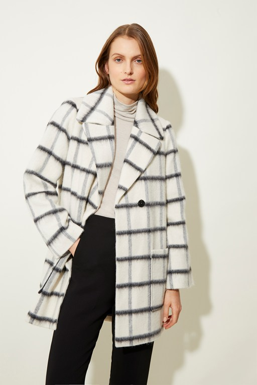 winter double breasted check coat