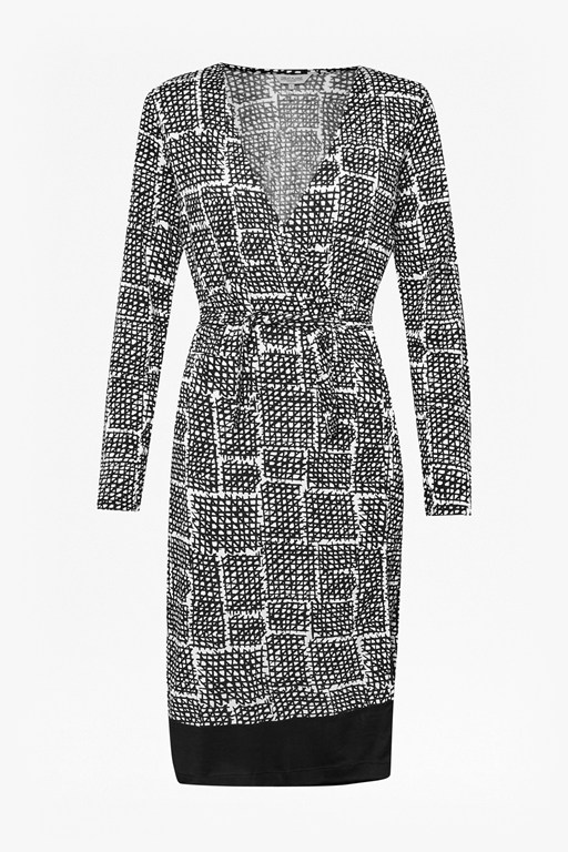 tic tac toe check wrap dress