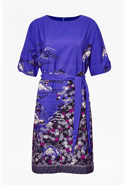 Geisha Print Shift Dress