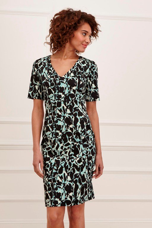 silhouette fitted v neck dress
