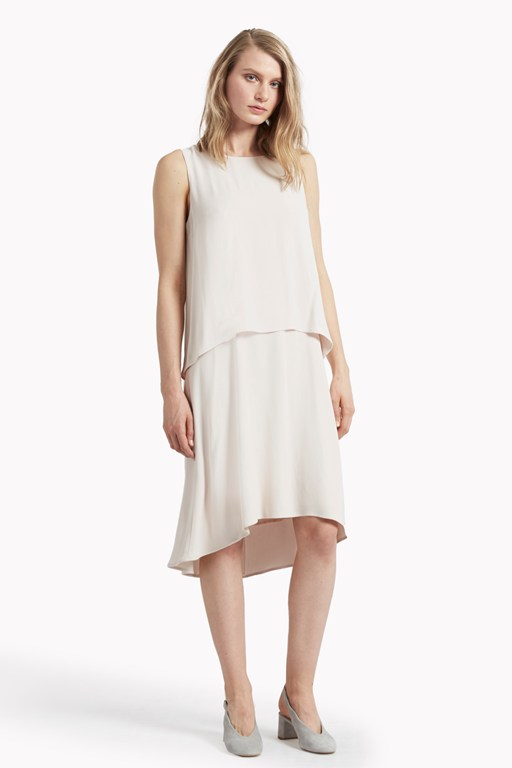 megan crepe double layer dress