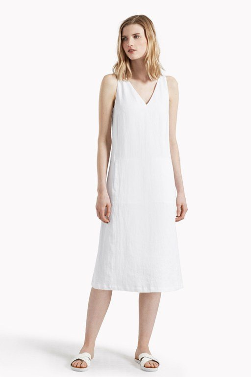 lara linen v neck dress
