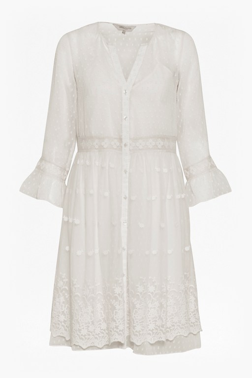 Complete the Look Dobby Spot Embroidered Dress