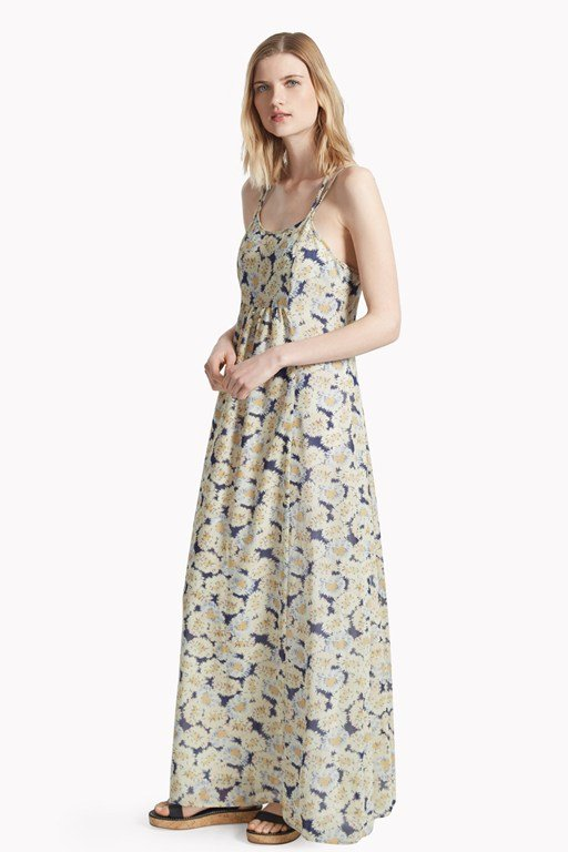 vintage bloom printed maxi dress