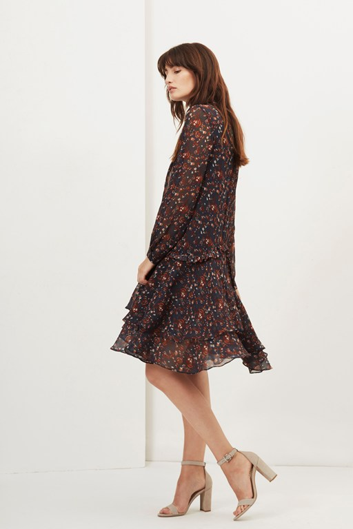 highland floral neck tie dress