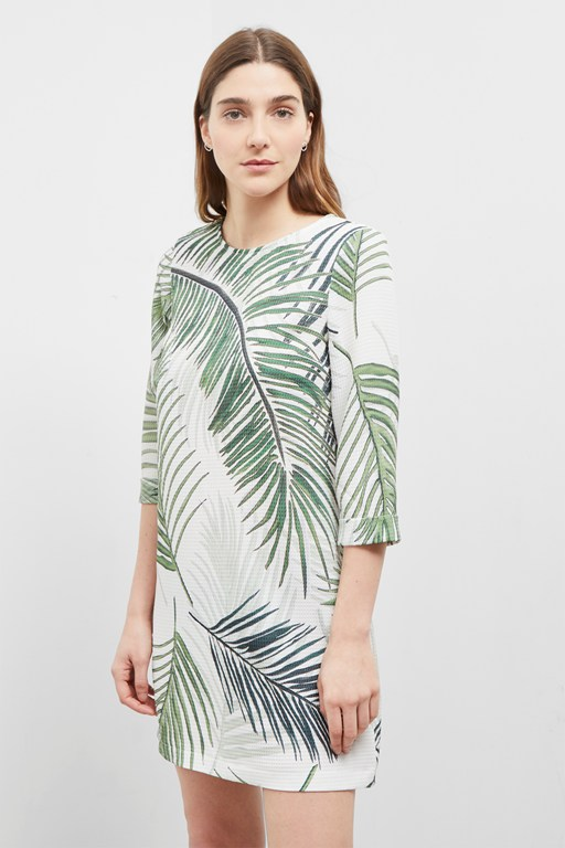 palm camo shift dress