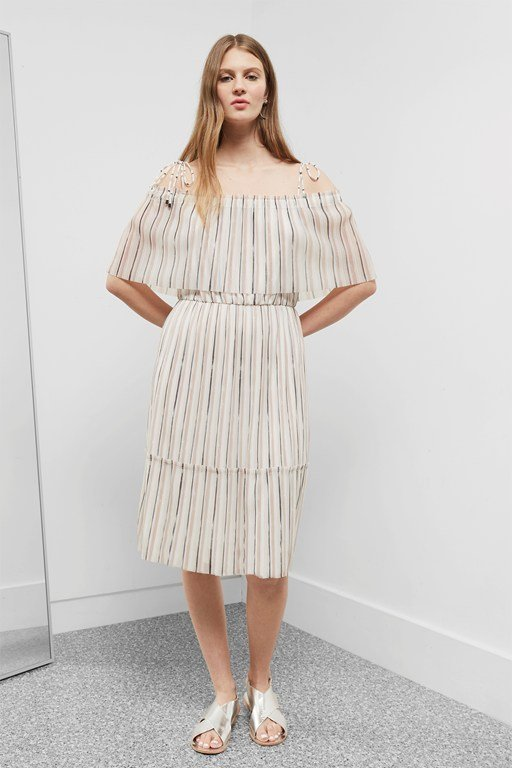 brush stroke layered midi dress