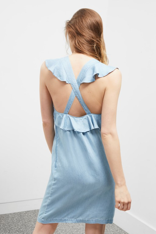 chambray frill cross back dress