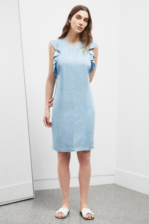 Complete the Look Chambray Frill Cross Back Dress