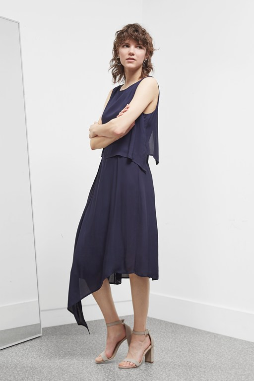 soft crepe midi dress