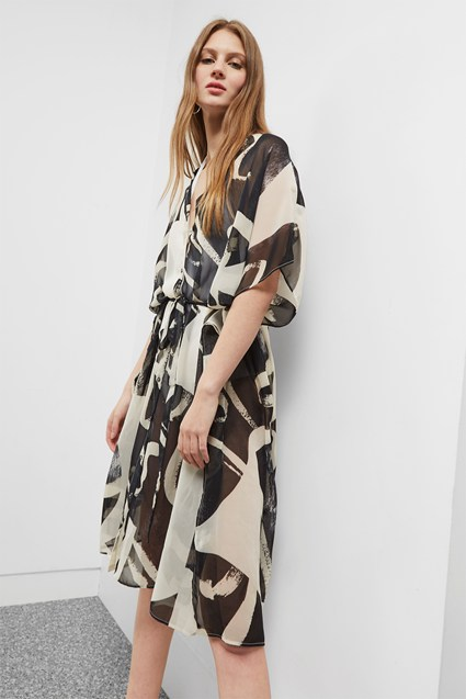 Ink Wash Kimono Dress
