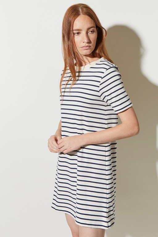 lace up stripe mini dress