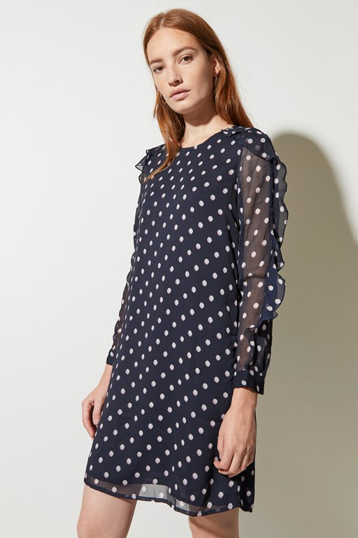 dot mix round neck dress