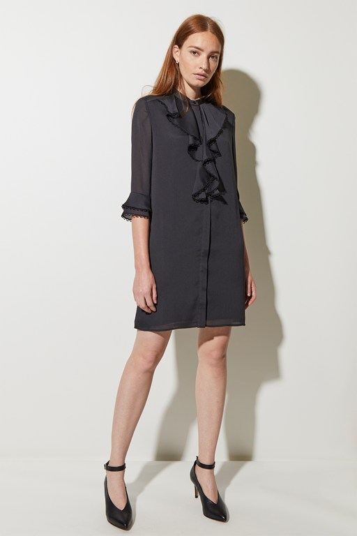 textured frill front dress