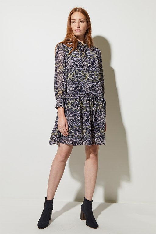 speckled flower belted dress