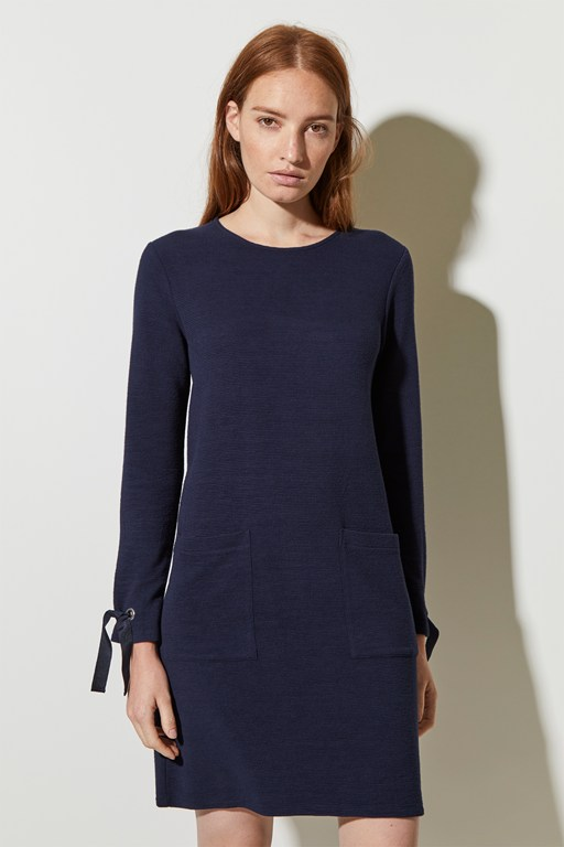 ottoman jersey round neck dress