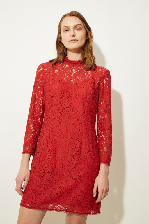 joni lace high neck dress
